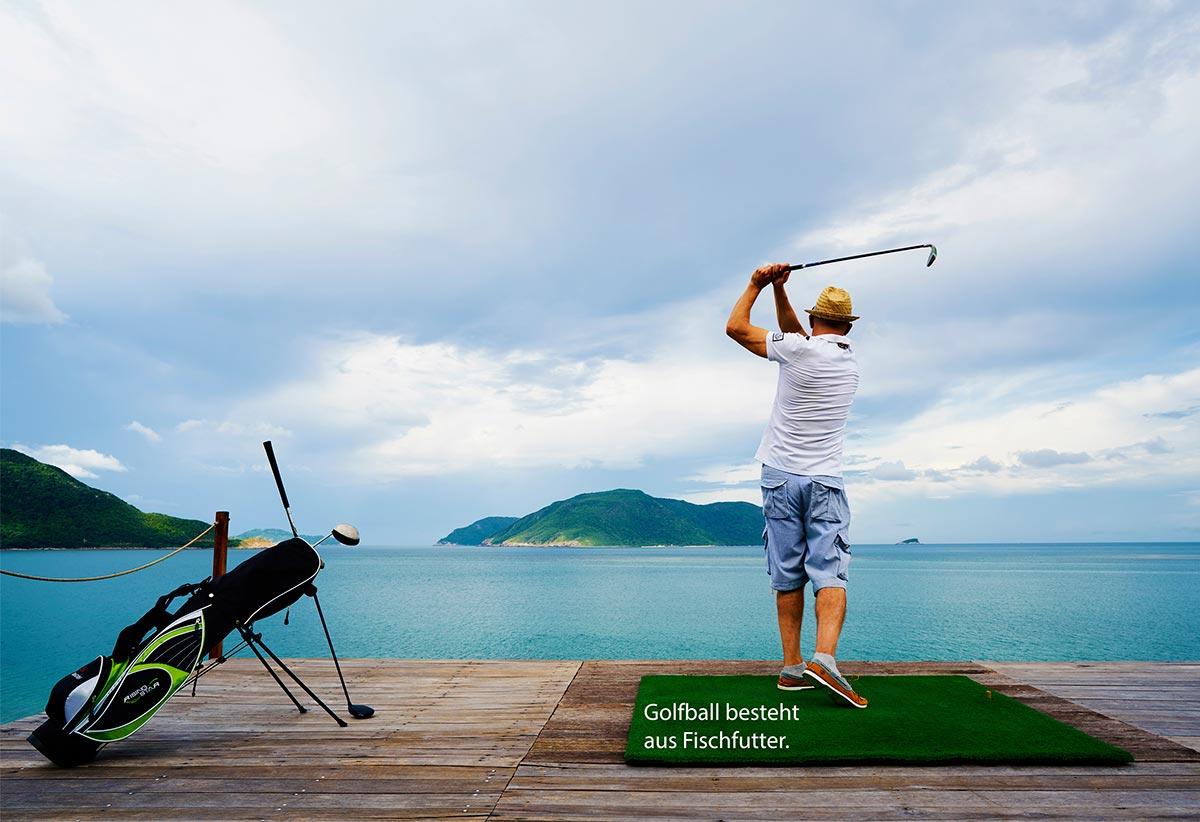 Golfball besteht aus Fischfutter_